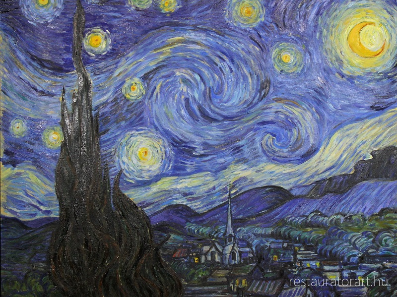 Van Gogh festmenymasolat starry night restauratorart restaurator muterem