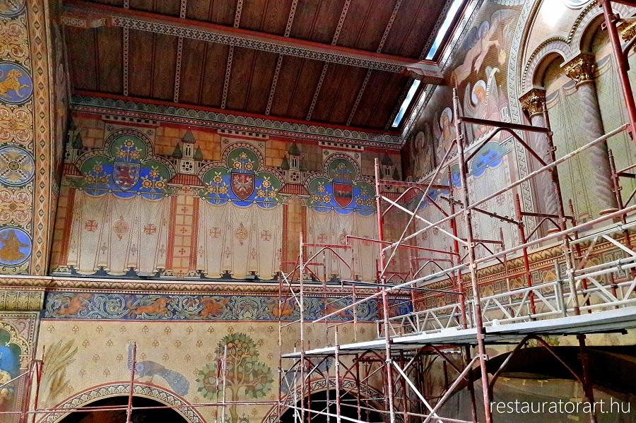 restaurálás, román csarnok, szépművészeti múzeum, restauratorart, falkép restaurálás