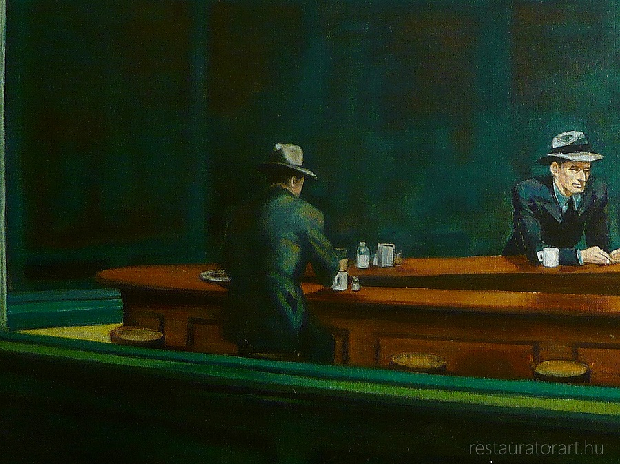 edward hopper, festménymásolat, painting reproduction, festmény reprodukció, restaurálás, restaurátor, restauratorart, éjjeli baglyok, nighthawks